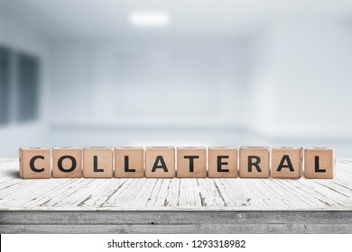 Collateral sign message on a worn desk in a bright office