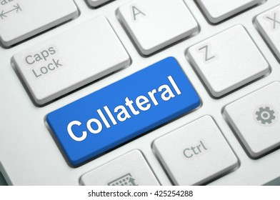 Collateral text written on Blue button White Keyboard