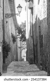 Colle di Val d'Elsa (Siena, Tuscany, Italy), historic city. Old houses with potted plants and flowers. Black and white.
