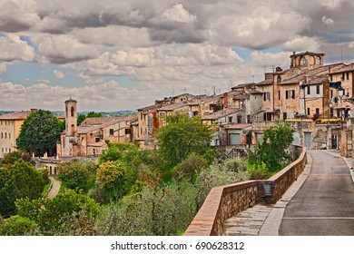 Colle di Val d'Elsa, Siena, Tuscany, Italy: landscape of the medieval town, ancient village on the hill surrounded by countryside
