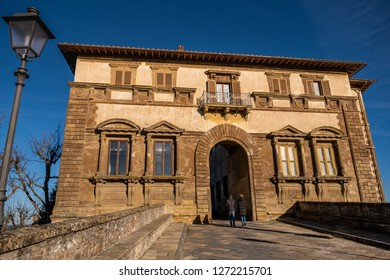 COLLE VALDELSA, ITALY - DECEMBER 26, 2018: Palazzo Campana, the gateway to the oldest part of the town of Colle Valdelsa, Siena