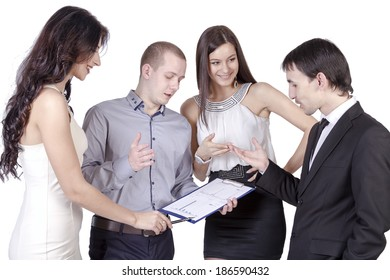 Colleagues discuss the business plan
