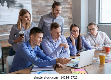 Colleagues during business meeting in office