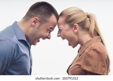Colleagues fighting each other with foreheads together, staring with hostile expressions isolated on white