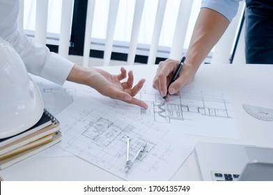 Kollegen Innenarchitekt Corporate Achievement Planung Design auf Entwurf Teamwork Konzept mit Layoutbildern