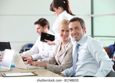 Colleagues working in an office