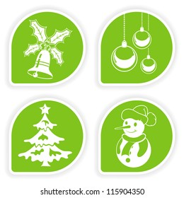 Collect sticker with Christmas icon, tree, snowman, bauble and bell, illustration