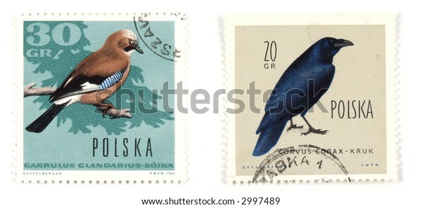 Collectible stamps from Poland. Set with birds.