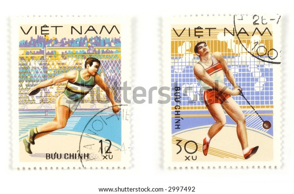 Collectible stamps from Vietnam. Set with athletic sports.