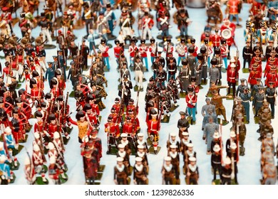 Collecting. Toy soldiers at market.