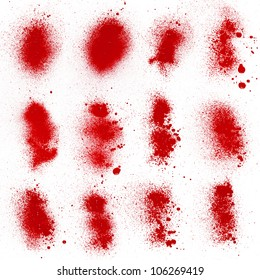 A collection of 12 blood (paint) spatters, splashes and sprays with high detail isolated on white.