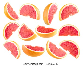 Collection of 12 isolated grapefruit slices