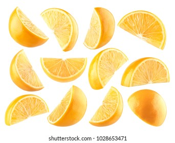 Collection of 12 isolated lemon slices