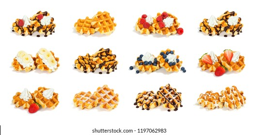 Collection of 12 Pairs of Liege Style Belgian Waffles with Assorted Sweet Toppings Isolated on White Background