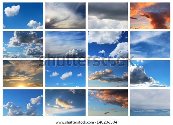 collection of 16 sky backgrounds with different types of clouds