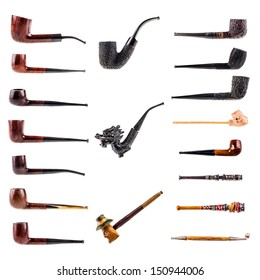 a collection of 18 tobacco pipes isolated over a white background