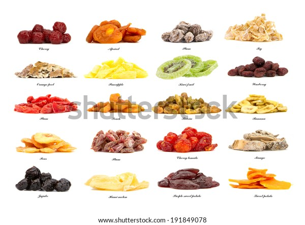 collection of 20 different kinds of dried fruit isolated on the white background