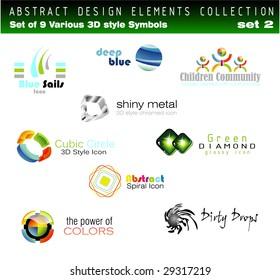 Collection of 3D Design Elements Set 2