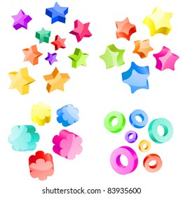 Collection of 3d vector stars and circles. Raster version.