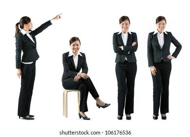 Collection of 4 full length portraits of the same Asian business woman. Isolated on white background