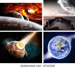 Collection of 4 planets background