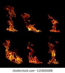 collection of 6 burning bonfires isolated on a black background