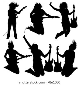 Collection of 6 silhouettes of a girl playing an electrical guitar