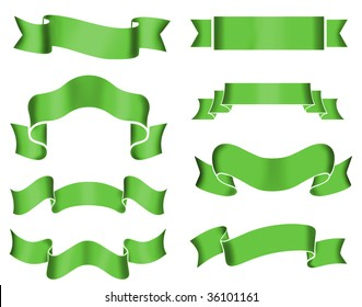 Collection of 8 green banners on white background. Illustration.