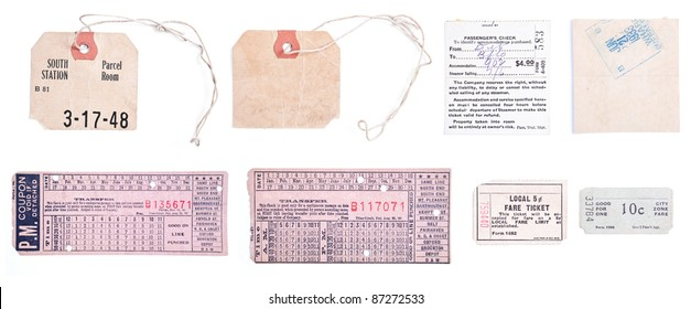 Collection of 8 individual images related to train travel, including old luggage claim tags and train tickets.  Isolated on white background.