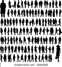 collection of abstract people silhouettes, isolated on  white background