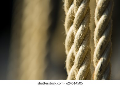 Collection of abstract rope pictures showing various ropes and arrangements from a historic tall ship docked in Charlestown, Cornwall