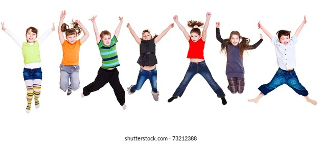 Collection of active junior kids jumping