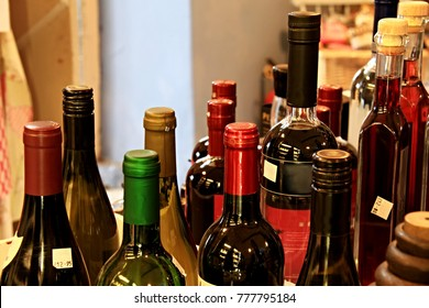 collection of alcohol bottles sitting on the table at a  birthday party no people stock photo