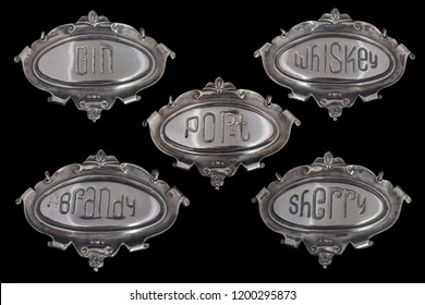 Collection of alcohol names on silver plates