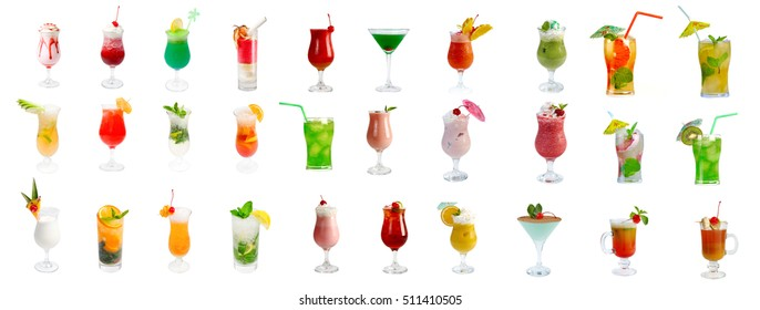 collection Alcoholic cocktails, isolated on white background. clipping Path