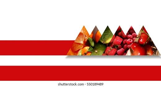 Collection of aligned triangles full of fruity textures: orange pieces, tangerines, limes, strawberries, raspberries and cherries, all bound by a red ribbon, on white background