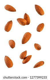 Collection of Almonds. Isolated on white background.