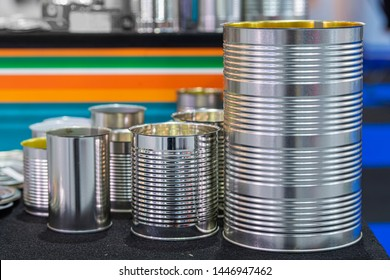 Collection of Aluminium Cans and metal tin can. Different sizes of containers for Baby powder milk, Canned food and other products. Packaging set. Copy space
