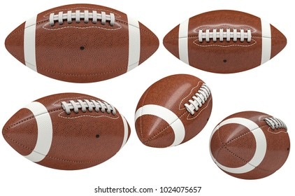 collection of american football ball isolated on white 3d rendering image