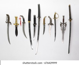 Collection of ancient cold steel, swords, daggers and sabers