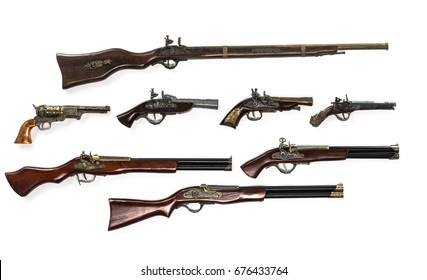 Collection of ancient firearms,rifle,Pistols