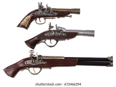 Collection of ancient pistols