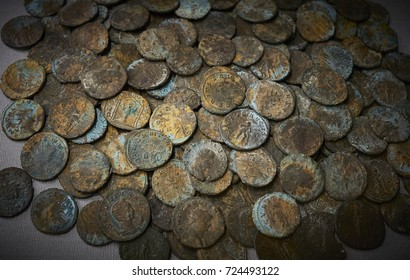 A collection of ancient Roman coins mainly of the Roman emperor Gallienus. Dated third century A.D. (2 of 2)