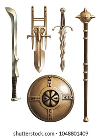 Collection of ancient weapons. Fantasy. Set