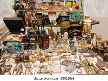 collection of antique object at garbage market