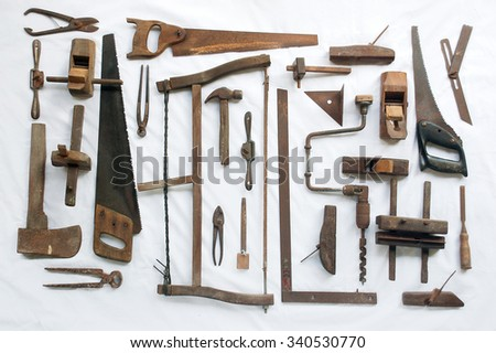 Collection Antique Woodworking Tools On White Stock Photo (Edit Now ...