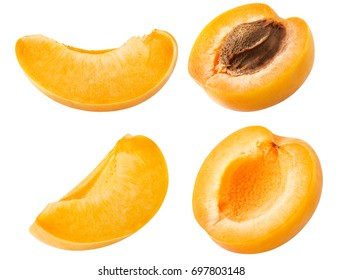 Collection of apricot. Set of fresh apricot fruits cut slices isolated on white background, with clipping path