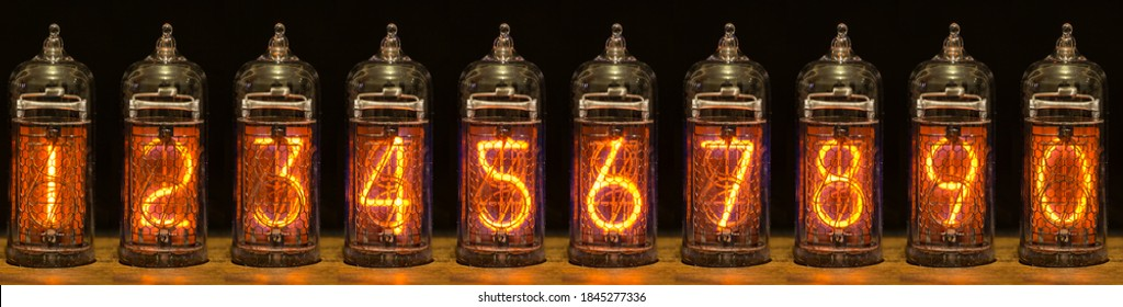 collection of arabic numerals, from zero to nine, at Nixie tube