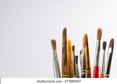 A collection of artist's watercolor brushes