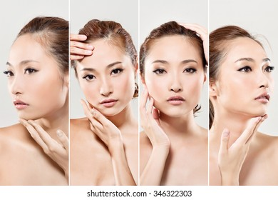 Collection of Asian beauty face, closeup portrait with clean and fresh elegant lady.